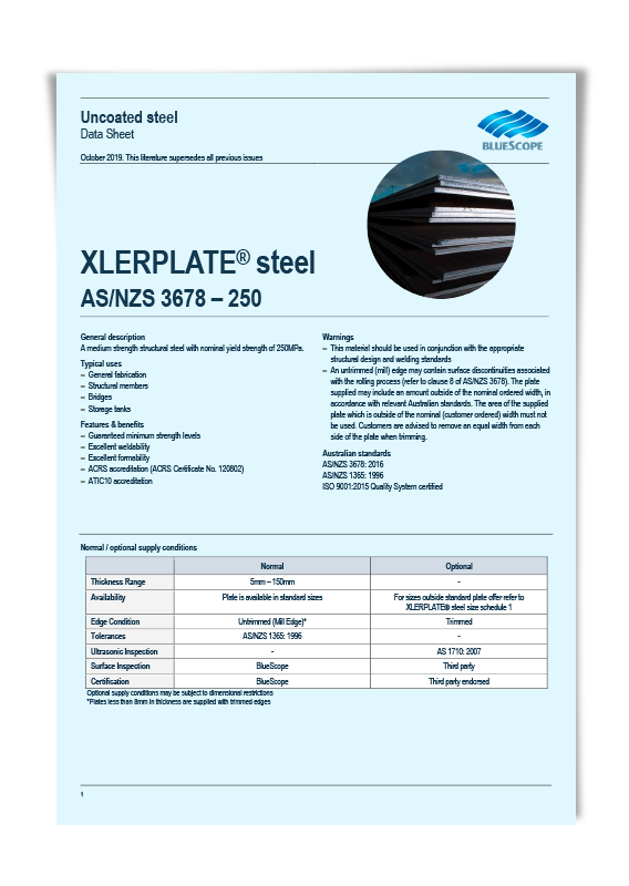 BlueScope G250 Steel Plate Data Sheet