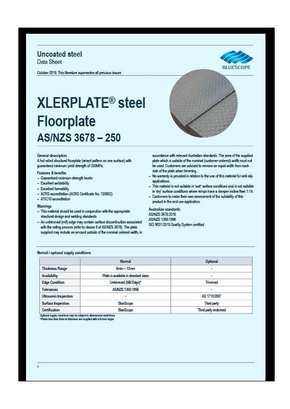 BlueScope G250 Steel Floor Plate Data Sheet
