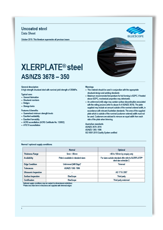 BlueScope G350 Steel Plate Data Sheet