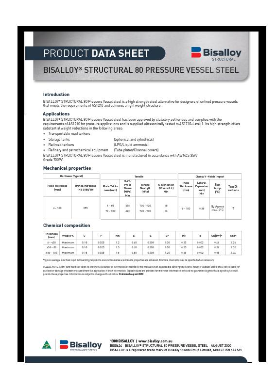 BISALLOY® Structural 80 Pressure vessel steel Datasheet