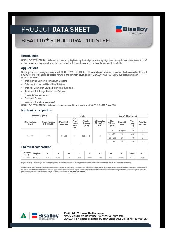 BISALLOY® Structural 100 steel Datasheet