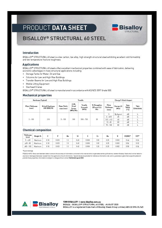 BISALLOY® Structural 60 steel Datasheet