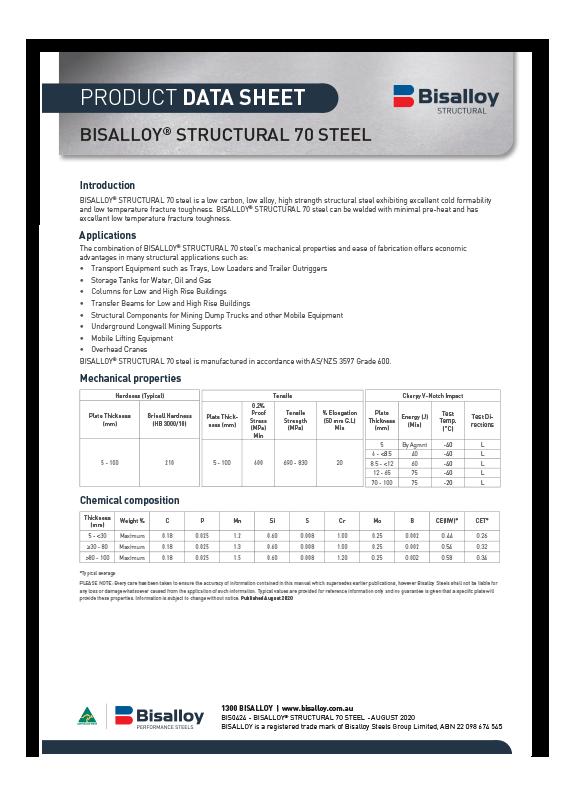 BISALLOY® Structural 70 steel Datasheet