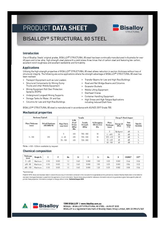 BISALLOY® Structural 80 steel Datasheet