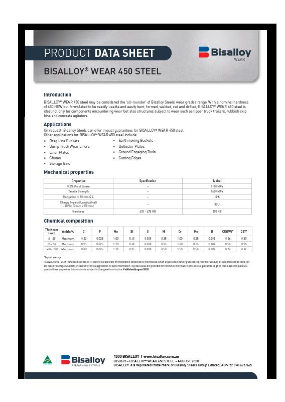BISALLOY® Wear 450 steel Datasheet