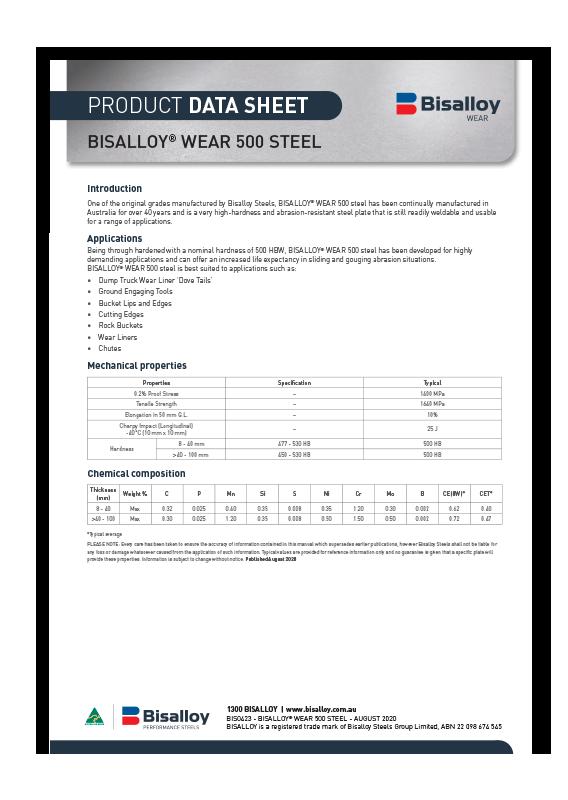 BISALLOY® Wear 500 steel Datasheet