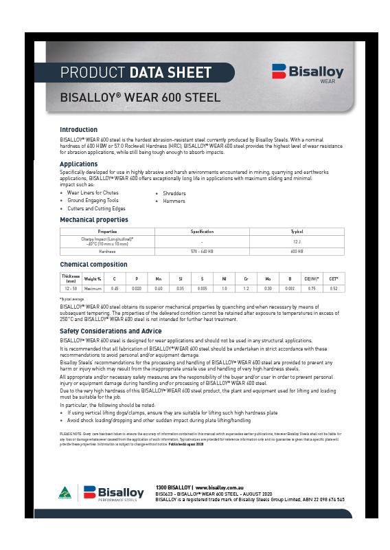 BISALLOY® Wear 600 steel Datasheet
