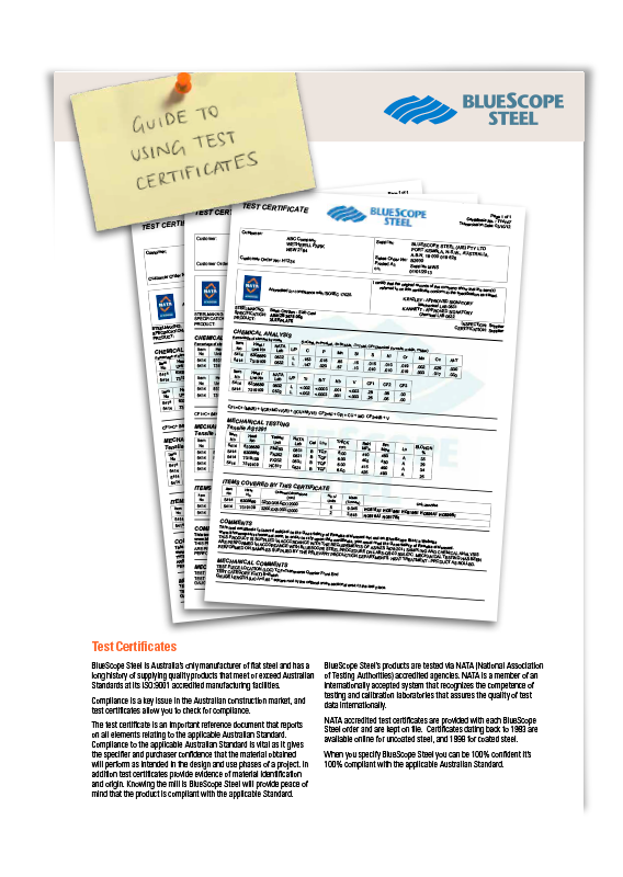 BlueScope Guide To Using Test Certificates